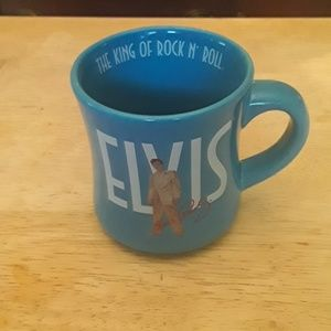 """Elvis Presley blue """"The King of Rock & Roll """" cup"""